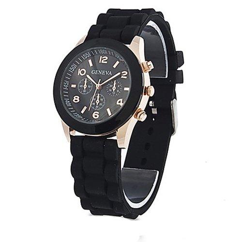 Geneva Unisex Silicone Jelly Gel Quartz Analog Sports Wrist Watch Black - Gel Watch Band