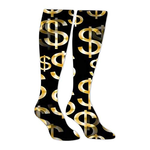 - Dollar Logo Tube Knee High Socks Long Stockings Leggings Athletic Slimming Unisex Socks
