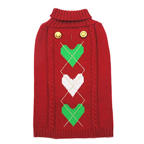 kyeese Dog Sweater with Leash Hole Heart Pattern Dog Sweaters Turtleneck Knitwear Warm Pet Sweaters for Fall Winter