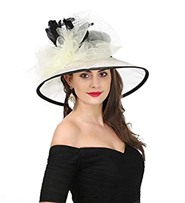 SAFERIN Women's Organza Church Kentucky Derby Hat Feather Veil Fascinator Bridal Tea Party Wedding Hat