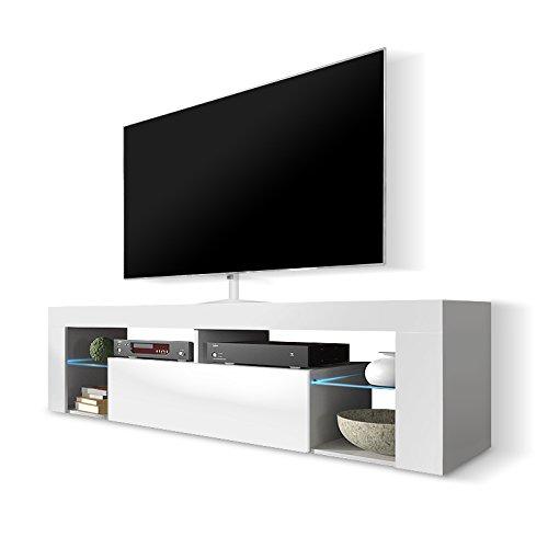 Mobile Moderno Per Tv.Hestia Mobile Porta Tv Mobiletto Porta Tv Moderno 140 Cm Bianco Opaco Pannello Frontale Bianco Lucido Con Luci Led