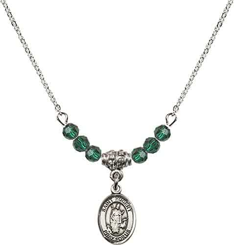 18-Inch Rhodium Plated Necklace with 6mm Amethyst Birthstone Beads and Sterling Silver Saint Catherine of Alexandria Charm.