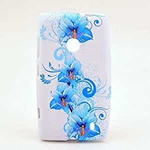 Blue Glories Pattern TPU Soft Case for Nokia Lumia N520
