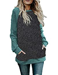 Women's Spring Lightweight Raglan Long Sleeve Tunic Tops Shirt Casual Blouses with Pocket