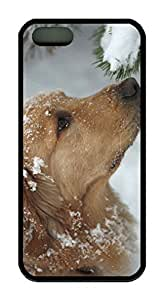 Dog Covered With Snow Theme Case for IPhone 4 4S Rubber Material Black by runtopwell