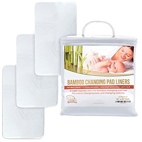 """Extra Large Changing Pad Liners For Baby, Non-Slip, Hypoallergenic, Machine Washable, Triple Layered, 36""""x20"""", 3-Pack"""