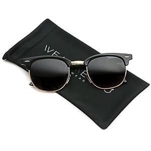 Polarized Clubmaster Classic Half Frame Semi-Rimless Rimmed Sunglasses,Black / Gold