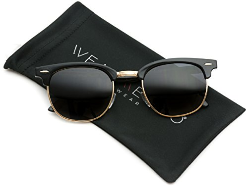 WearMe Pro - Classic Half Frame Polarized Semi-Rimless Rimmed Sunglasses Black / Gold