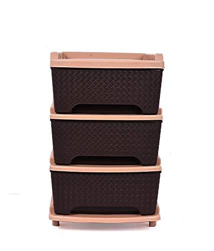 Sonal   Organiser Multipurpose Drawer Standing Chest   Plastic  Brown, Tier 3