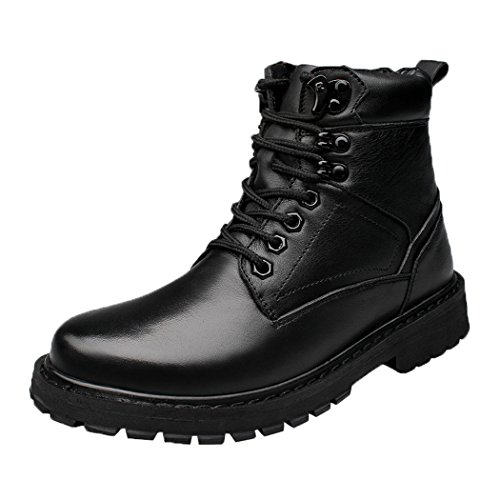 Modern Fantasy Mens Black Shoes Leather Fur Trekking Soft Toe Boot Size 13.5 US Black