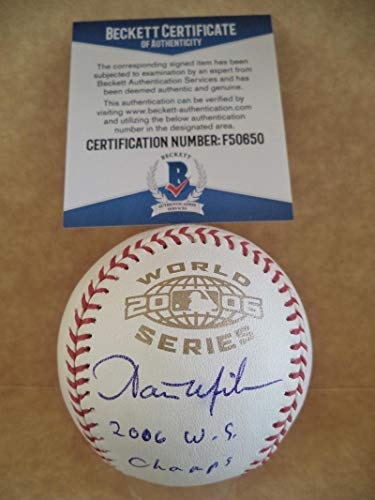 AARON MILES 2006 W.S. CHAMPS SIGNED 2006 WORLD SERIES BASEBALL BECKETT - World Series 2006 Champs