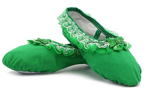 YOGLY Zapatos de Ballet Elegante Para Niñas, Zapatillas de Baile Adulta Zapatos de Yoga Suela Blanda Transpirables de Alta Calidad 24-40 EU Verde