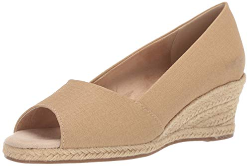 (Easy Street Women's Monique Espadrille Open Toe Pump Wedge Sandal, Beige Linen, 6.5 M US)