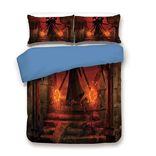 - Duvet Cover Set Twin Size, Decorative 3 Piece Bedding Set with 2 Pillow Shams, Barbarian Evil Demonic Character Fictional Video Game Person Scary Artsy Graphic