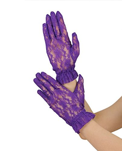 NYFASHION101 Solid Color Classy Elegant Formal Wrist Ruffle Length Lace Gloves, Purple (Ruffle Gloves Lace)