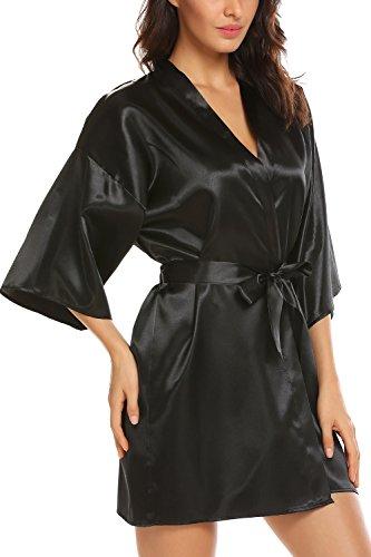 Avidlove Women's Kimono Robe Satin Lounge Bridesmaids Short Style Black (Wholesale Satin Robes)