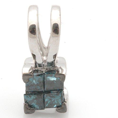 Prism Jewel Princess Cut Invisible Set Blue Diamond Pendant, 925 Sterling Silver (Set Princess Diamond Pendant Invisible)