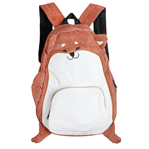Animal Backpack Corduroy Zipper Shoulder
