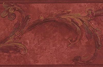Blood Red Damask Wallpaper Border Vintage Design, Roll 15' x 6.5''