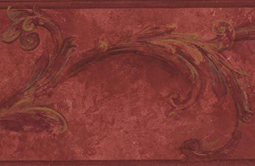 """ブラッドレッドダマズ壁紙壁紙ヴィンテージデザインロール15 'x 6.5 """""""