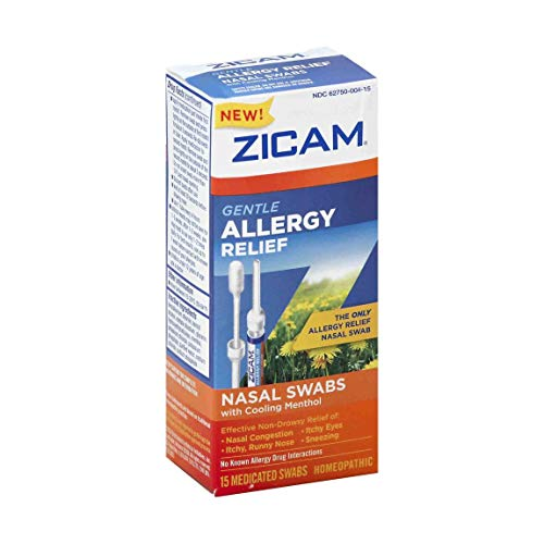 Zicam Allergy Relief Nasal Swabs with Cooling Menthol, Homeopathic Allergy Treatment, 15 Count