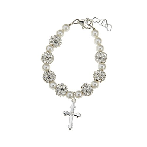Crystal Dream Christening Sterling Silver Engraved Cross Charm with White Swarovski Simulated Pearls and Pave Beads Keepsake Girl Bracelet (Sterling Silver White Cross)