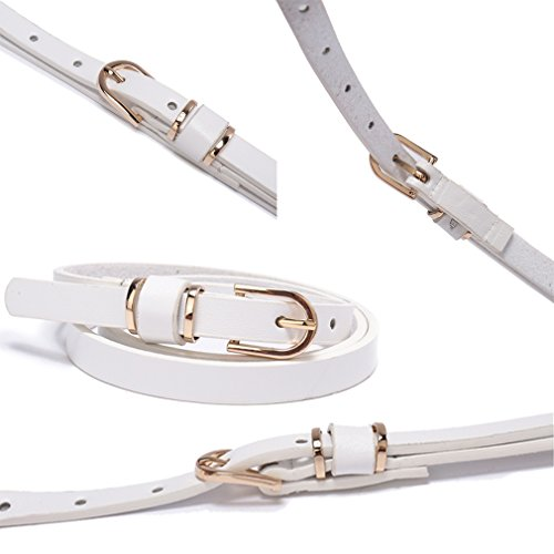 Set of 5 Women's Skinny Leather Belt Solid Color Waist or Hips Ornament 10 Sizes (34-36, Set of 5 belts 1/2 wide) by beltox fine (Image #5)