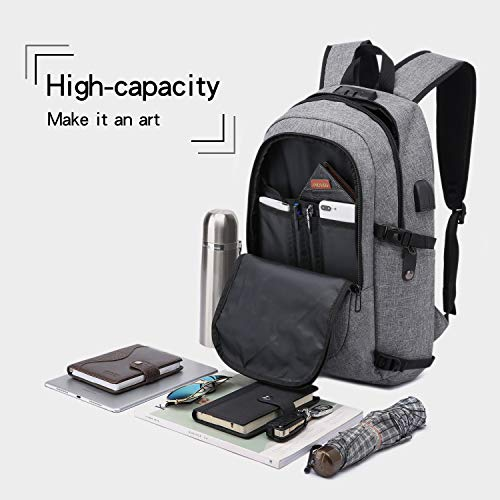 Laptop Backpack,Business Travel Anti Theft Backpack for Men Women with USB Charging Port,Slim Durable Water Resistant…