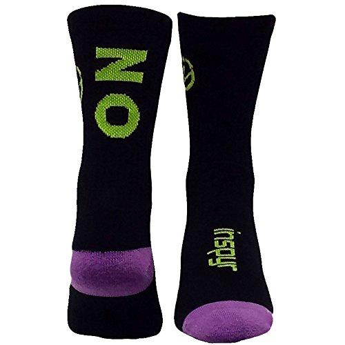 Inspyr Socks No Limit Athletic Lifestyle Crew Socks, Black/Green/Purple, Medium