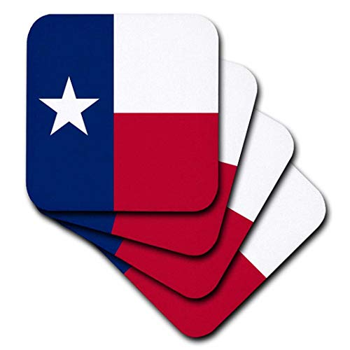 3dRose CST_158447_1 Flag of Texas TX US American United State of Americ a USA Blue Red White The Lone Star Flag Soft Coasters (Set of 4)