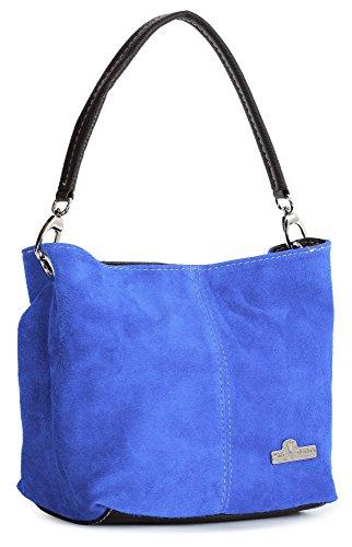 LiaTalia - Mini sac à main modèle cabas/hobo pour femme en suède italien porté épaule - 'Demi'(Noir) Bleu Électrique