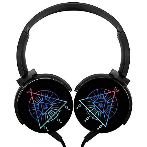 PjNnt Eye of Horus Third Eye Triangle Deep Bass Wired Headphones Stereo HiFi Over-Ear Earbuds Black