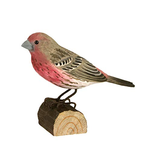 Wildlife Garden House Finch DecoBird, Hand-Carved Wood Replica for Indoor or Outdoor Use, Artisanal Life-Like Figurine Designed in Sweden