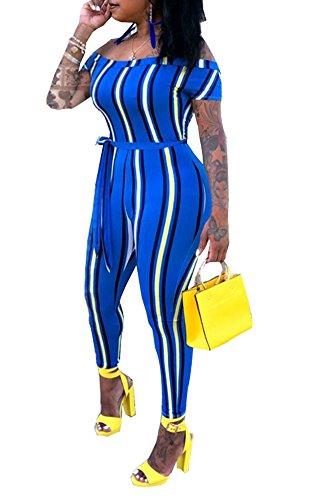 (Ophestin Women Off Shoulder Short Sleeve Rainbow Stripe Print Belt Bodycon Long Pants Jumpsuits Rompers Blue M)