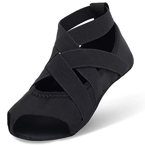 Yoga Zapatillas Negro Puro Con Joinfree Pilates Para Antideslizante Media Barre Ballet Bellarina Puntera 6qx84