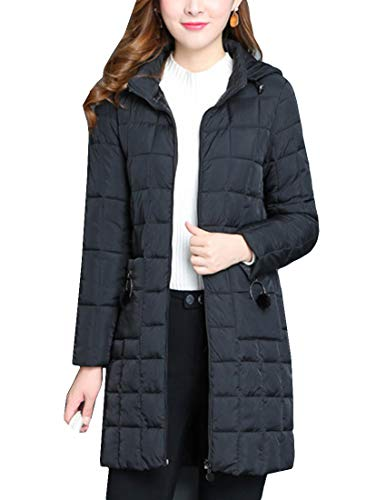 Parka Quilted Length - MFrannie Women Packable Front Zip Down Coat Mid-Length Quilted Puffer Jacket Black L