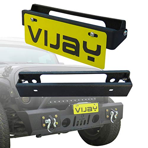 Vijay Black 254mm Flip-Up Hawse Fairlead Mounted License Plate Holder Mounting Screw Jeep Wrangler TJ JK JL Bumper