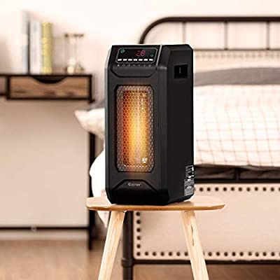 Modern Design Electric Heater 1500 W Portable Electric Space Heater with Timer Remote Control Freestanding can Move Easily Private Area Perfect Heating Solution Small Spaces Office, Living, Bed Room