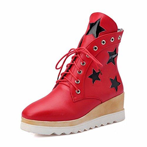 stars Big boots short heel student fashion gules bottom thick girls women's shoes size PHrPX