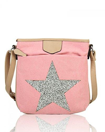 School Ladies Men's 160434 2039 Canvas Messenger Pale Handbags LeahWard Satchel Pink Bags 26x30cm Women's xYqfx1F
