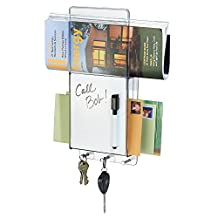 mDesign Mail, Letter Holder, Key Rack Organizer with Dry-Erase Board for Entryway, Kitchen - Wall Mount, Clear/Chrome