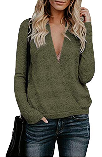 FEIYOUNG Women's Deep V-Neck Long Sleeve Wrap Front Loose Wool Cashmere Sweater Winter Tops Army Green