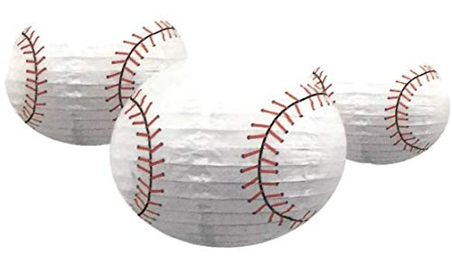 - Sports Balls Paper Lanterns Baseball Set of Three for Party Decorations, Team Events, Sports Themed Parties, Home and Office Deco