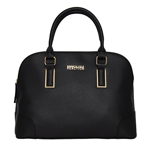 Kenneth Cole Reaction KN1597 Dome Women's Purse, Top Handle Satchel Handbag (BLACK) - Open Top Shopper