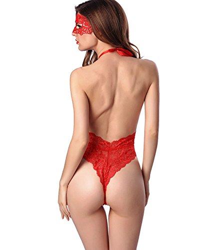 V donne Rosso della bamboletta a biancheria pizzo lingerie Halter sexy di per scollo le vestaglia JJPUNK lingerie ouvert trasparente fqt1xn