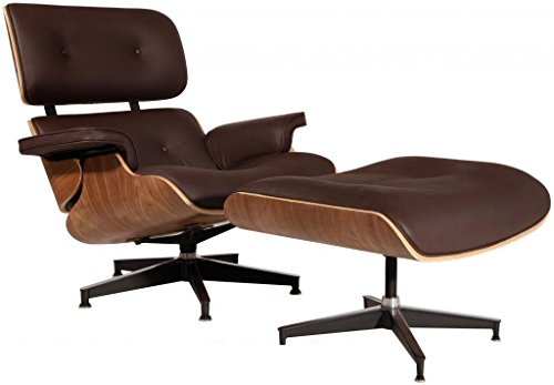 Modern Sources - Mid-Century Plywood Lounge Chair & Ottoman Eames Replica Brown Walnut Real Premium ()