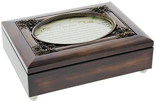 Dark Green Music Box - Cottage Garden Dark Woodgrain Music Box with Poem Insert Amazing Grace (The Broken Chain (Green))