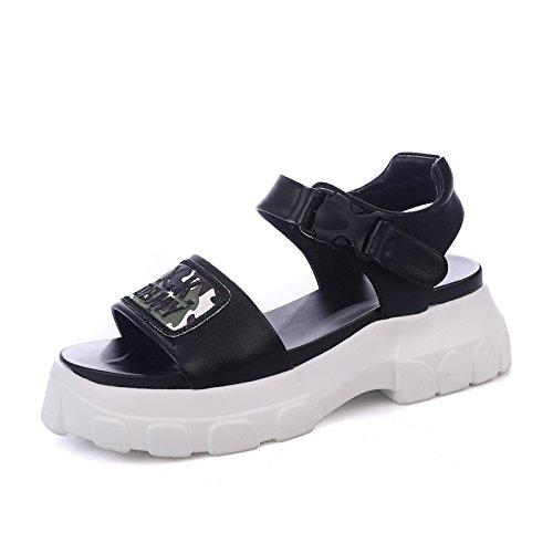 QQWWEERRTT Mode Vintage Sport Sandaleen Frauen Sommer Neue Universal Plateauschuhe Schuhe Kissen Student Sandaleen