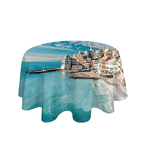 - Italy Printed Tablecloth Panorama of Old Italian Fishing Village Beach in Old Province Coastal Charm Image Desktop Protection pad D35 Inch Turquoise