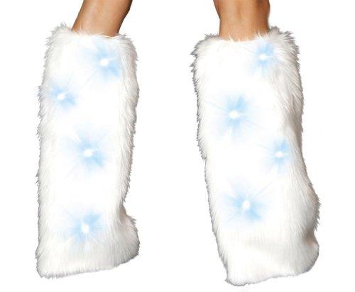 J Valentine Women's Light-UP Legwarmers One Size White (White Fluffy Leg Warmers)